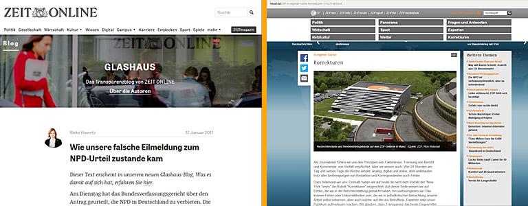 Screenshot Zeit und ZDF