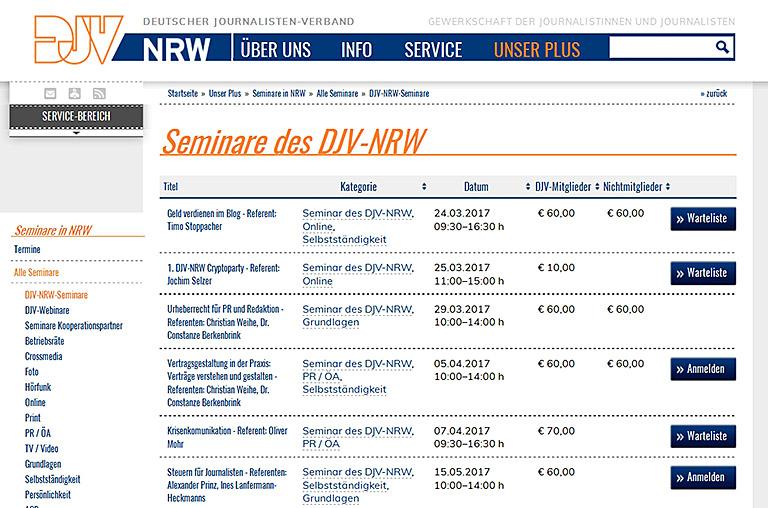 In seiner Datenbank (Bild l.) bewirbt der DJV-NRW sein eigenes Seminarprogramm und die Angebote der Kooperationspartner.