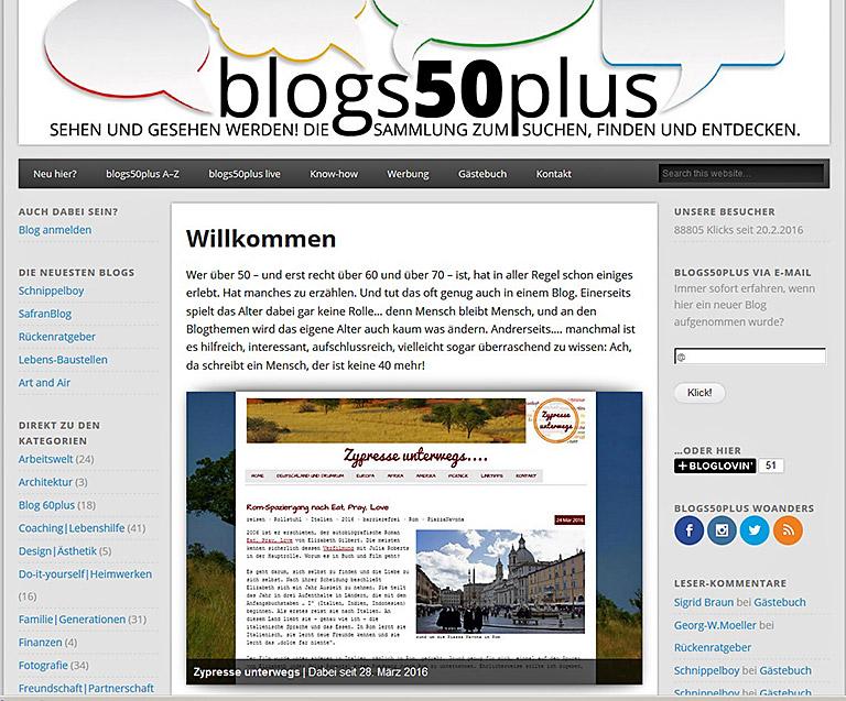 Die Seite blogs50plus versteht sich als Anlaufstelle zum Stöbern und Vernetzen.